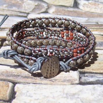 Leather Wrap Bracelet Bohemian Jewelry Southwest Bracelet Earthy Boho Jewelry Grey Wrap Bracelet Leather Jewelry Hippie Wrap Brown Bracelet