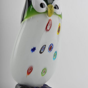 Glass Decoration of White Owl with Colorful Dots Home Decor Murano Art Styled Blown Glass Figurine Colorful Statue