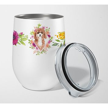 Cavapoo Pink Flowers Stainless Steel 12 oz Stemless Wine Glass CK4247TBL12