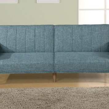 Poundex F6814 Blue grey linen like fabric futon sofa bed with arms