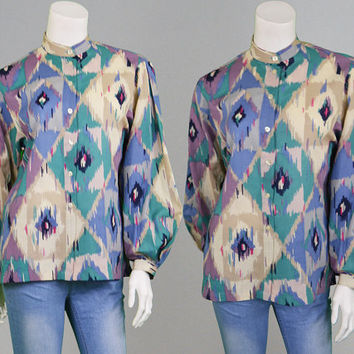 Vintage 70s 80s JAEGER Blouse Womens Wool Shirt Aztec Print Tribal Print Psychedelic Top Hippy Shirt Boho Blouse British Designer 1970s