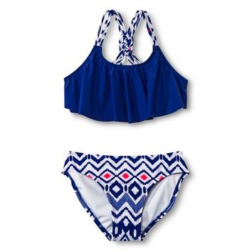 Girls' 2-Piece Flounce Top and Aztec Print Bottom Bikini Set