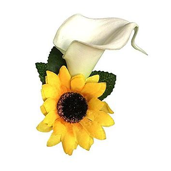 Boutonniere-real Touch Calla Lily with Sun Flower,pin Included