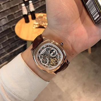 DCCK C035 Cartier Fashion Square Hollow Automatic Machinery Leather Watchand Watches Maroon Rose Gold