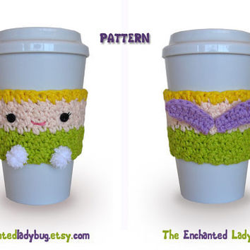 PDF PATTERN: Crochet Tinkerbell Coffee Cup Cozy