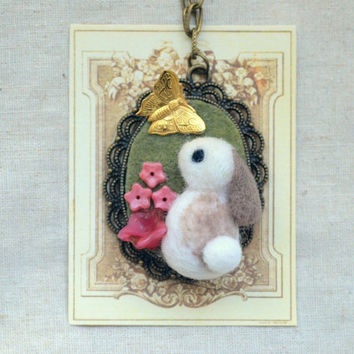 Needle felted wool rabbit with butterfly necklace, handmade bunny pendant necklace, lolita jewelry, whimsical jewelry, gift under 25