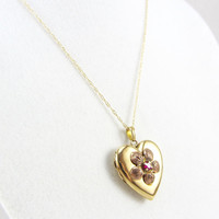 Vintage 10K Gold Heart Locket with Ruby Mid Century Yellow and Rose Gold Flower Pendant Necklace Photo Locket Fine Jewelry