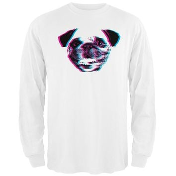 3D Pug Face White Adult Long Sleeve T-Shirt