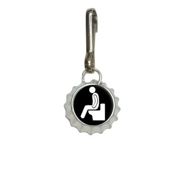 Poop - Pooping Toilet Bottlecap Charm Zipper Pull