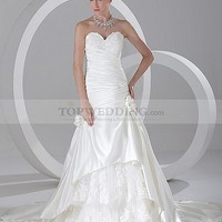 Sweetheart Satin Appliqued Mermaid Wedding Dress with Lace Underlay