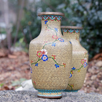 Pair of Cloisonne Vases Vintage Chinese Enamel Cherry Blossom Pattern Mustard Yellow 1920s