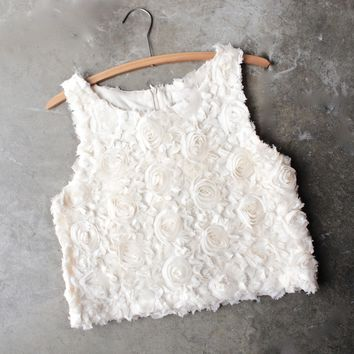 wild rose crop top - sand