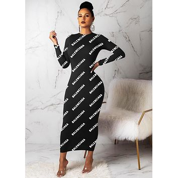 BALENCIAGA Autumn Winter Fashion Women Sexy Print Long Sleeve Dress