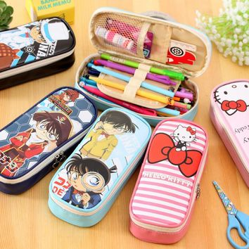 Cartoon Conan pencil case Kawaii hello kitty pu leather big capacity pencil bags for kids pen pouch office school supplies