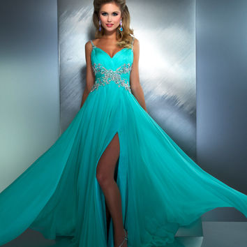 Mac Duggal Prom 2013- Mint Gown With Criss Cross Embellishments Along Waist - Unique Vintage - Cocktail, Pinup, Holiday & Prom Dresses.