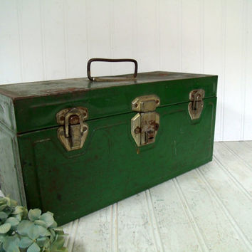 Handy Heavy Duty Dark Green Enamel Metal Two Piece Tool Chest - Vintage Forest Green Tackle Box - Artisan Tools Tote - Well Used Condition
