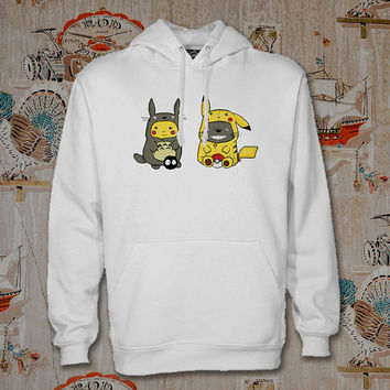 totoro and pikachu Hoodie,Unisex Adults Size,Available Color White Black