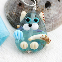 Cat Jewelry, Blue beach pendant, Cat Necklace, Handmade Lampwork glass, Beach Jewelry, Pet adoption, Kitten, Kitty Necklace