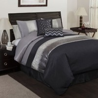 Lush Decor Night Sky 6-Piece Comforter Set, Queen, Gray/Black