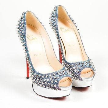 AUGUAU Blue, Pink and Silver Christian Louboutin  Lady Peep Spikes  Pumps