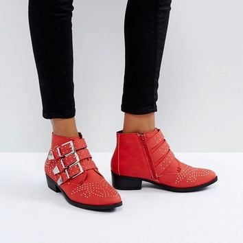 Missguided Studded Strap Western Ankle Boot at asos.com