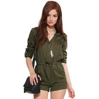Army Green V-Neck Drawstring Sleeve Romper