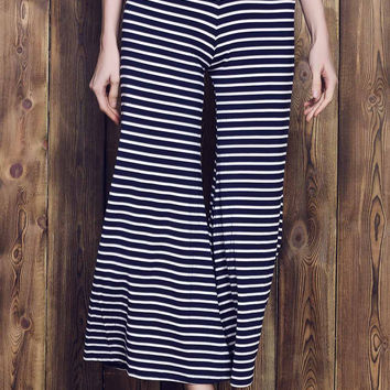 Monochrome Stripe Elastic Waist Wide-Leg Pants