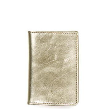 Leather Travel-Card Card Holder - Gold