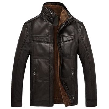 and winter quality men's leather jacket warm business casual PU leather jacket plus velvet solid color stand collar coat
