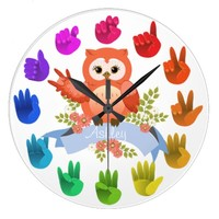 Owl love ASL Sign language rainbow customizable