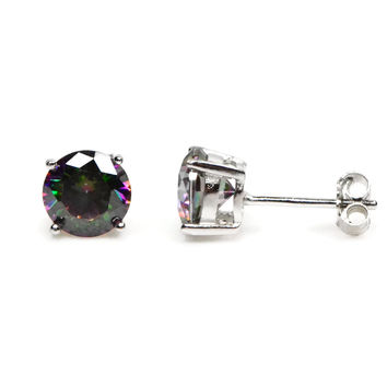 Round Genuine Rainbow Mystic Topaz Sterling Silver Stud Earring