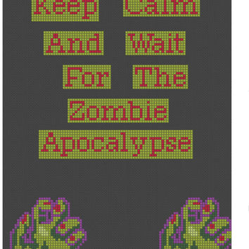 Zombie Cross Stitch Pattern, Keep Calm and wait for the zombie apocalypse, instant download PDF File,