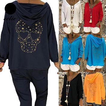 Skull Pullover Thin Sequin Hoodie For Women