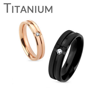 To Have And To Hold - FINAL SALE Grooved Center Titanium Rings With Clear CZ Stones