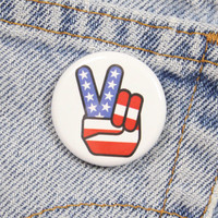 American Flag Peace Sign Hand 1.25 Inch Pin Back Button Badge