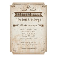 Skull Haunted House Halloween Party Invitations