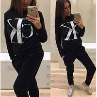 Calvin Klein Ck Fashion Letter Long Sleeve Shirt Sweater Pants Sweatpants Set Two Piece Sportswear-2