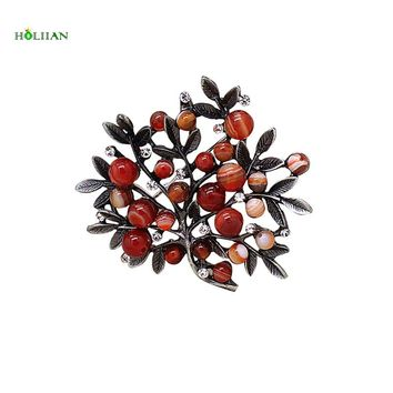 Women fashion brooch female red supernatural stone scarf buckle broches bijouterie pins de mujer vintage tree badges for women