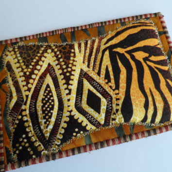 Quilted  Postcard - Handmade  Postcard - African Theme Postcard - Patchwork  Postcard - Fabric  Postcard - Appliqué Postcard