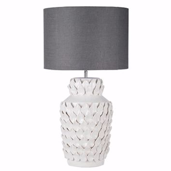 Suave Cultivated Keene Ceramic Lamp, Gray and White