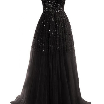 A-Line Sequin Beading Prom Dresses
