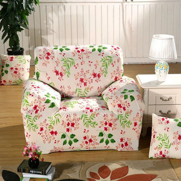 3 Size Stretch Flower Printed Sofa Cover Lounge Couch Easy Removable Slipcover Furniture Protector