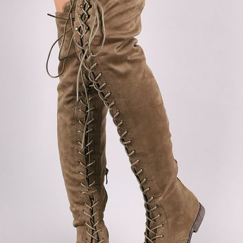 Vegan Suede Combat Lace-Up Over-The-Knee Boots