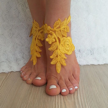 bridal anklet, yellow Beach wedding barefoot sandals, bangle, wedding anklet, free ship, anklet, bridal, wedding