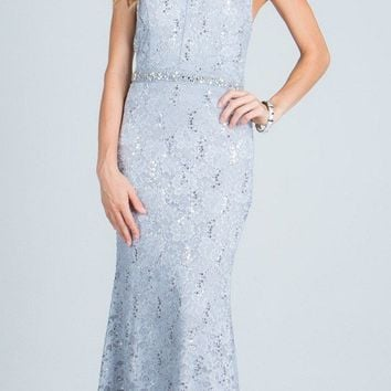 Silver Mermaid Evening Gown Beaded Waist Halter with Keyhole