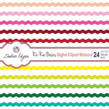 Digital Ric Rac Ribbons Clipart, 24 Colors, 12x.5 inches, Instant Download, Commercial Use, Printable 300 dpi PNG files
