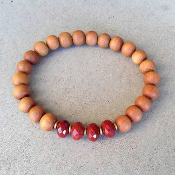 "Sandalwood and Red Jasper ""First Chakra"" Bracelet"