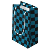 Teal Blue and Black Checkerboard Pattern Small Gift Bag