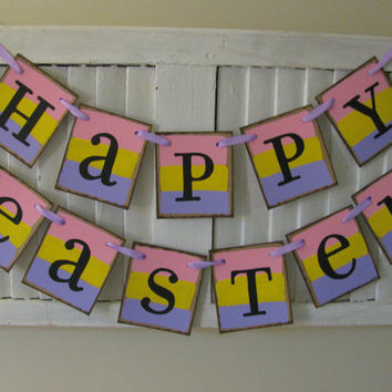 Easter Banner Pink Purple Yellow Happy Easter Garland Bunting Great Photo Prop