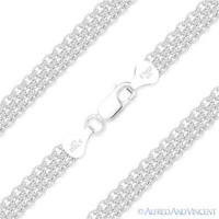 Solid 925 Italy Sterling Silver 5.7mm Bombee Bismark Link Italian Chain Necklace